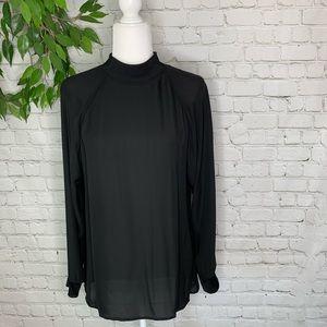 Theory Black Long Sleeve Mock Neck Silk Blouse LG